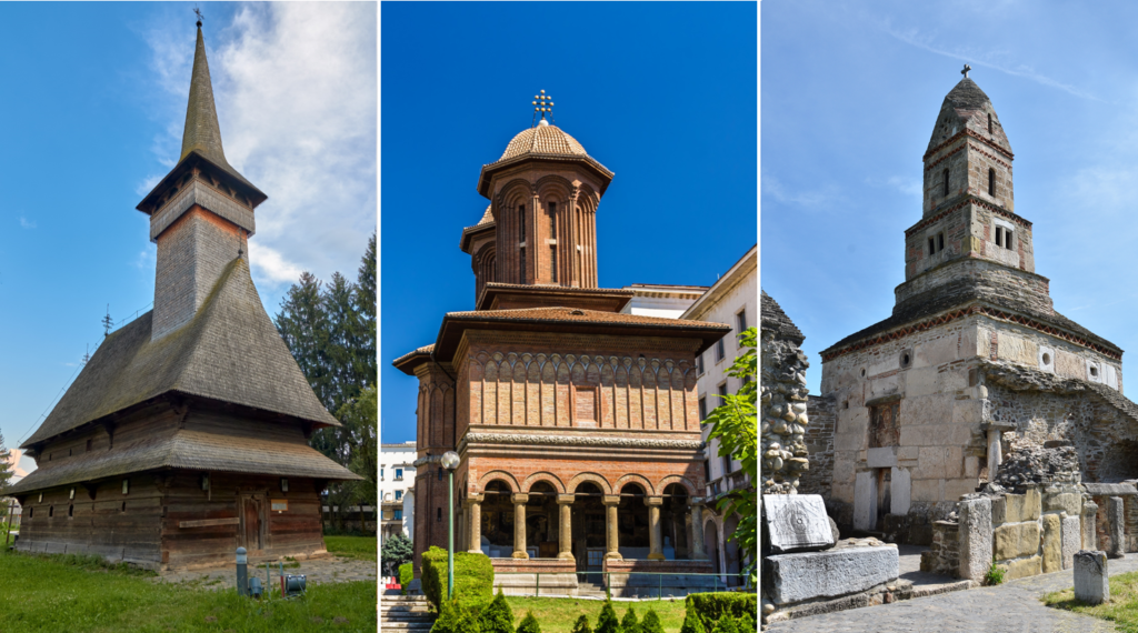 3 churches: One from Bogdan Voda village, one from Bucharest and one from Densus village, all in Romania.