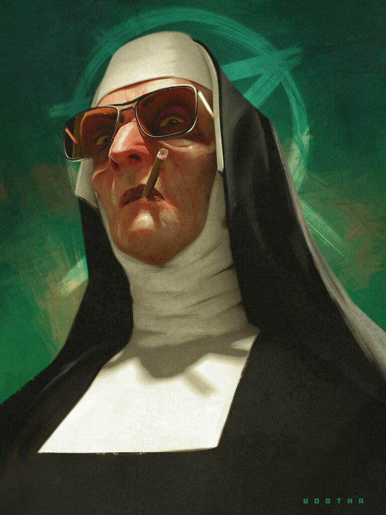 Artwork by Stéphane Wootha Richard. A nun with a cigarette and a pentagram.