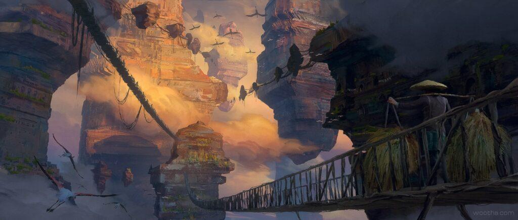 Artwork by Stéphane Wootha Richard. Bridges connecting rocks in the sky.