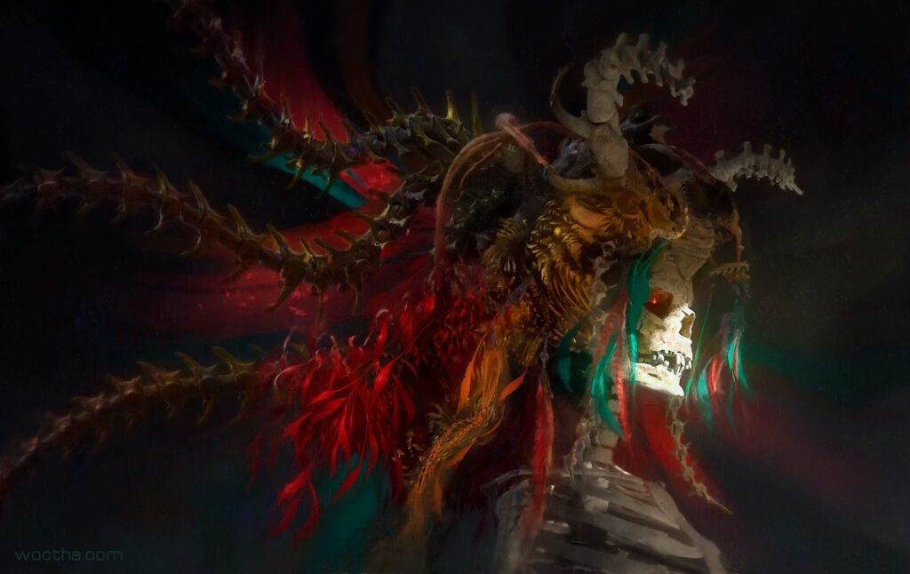 Artwork by Stéphane Wootha Richard. A skeleton with bone horns and decorative feathers and hair.